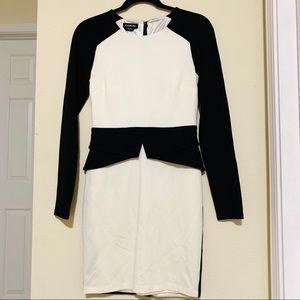 BEBE sexy black white dress- very good - size S